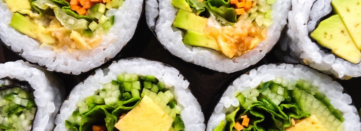 Close-up of vegetarian sushi